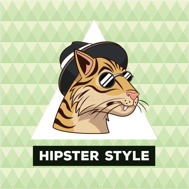 Πράσινο γεωμετρικό υπόβαθρο ύφους τιγρών πορτρέτου hipster απεικόνιση αποθεμάτων