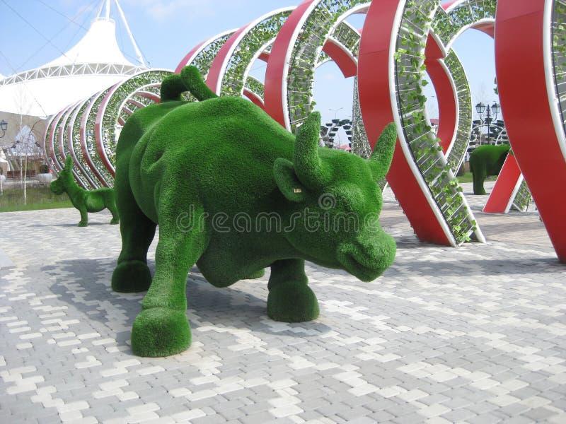 Πράσινο γλυπτό-Buffalo Topiary-πράσινη τέχνη στοκ φωτογραφία με δικαίωμα ελεύθερης χρήσης