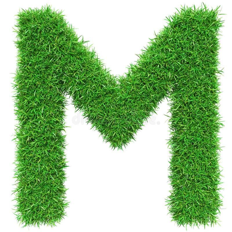 Πράσινο γράμμα Μ χλόης διανυσματική απεικόνιση