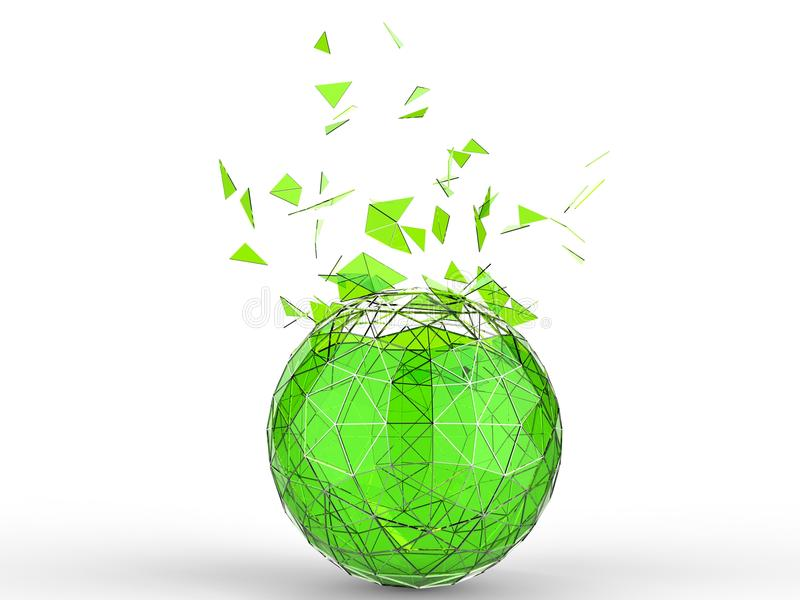 Πράσινο γυαλί που καταστρέφει τη χαμηλή πολυ σφαίρα στο άσπρο υπόβαθρο ελεύθερη απεικόνιση δικαιώματος