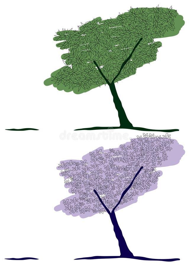 Πράσινο δέντρο και δέντρο λουλουδιών στοκ φωτογραφία με δικαίωμα ελεύθερης χρήσης