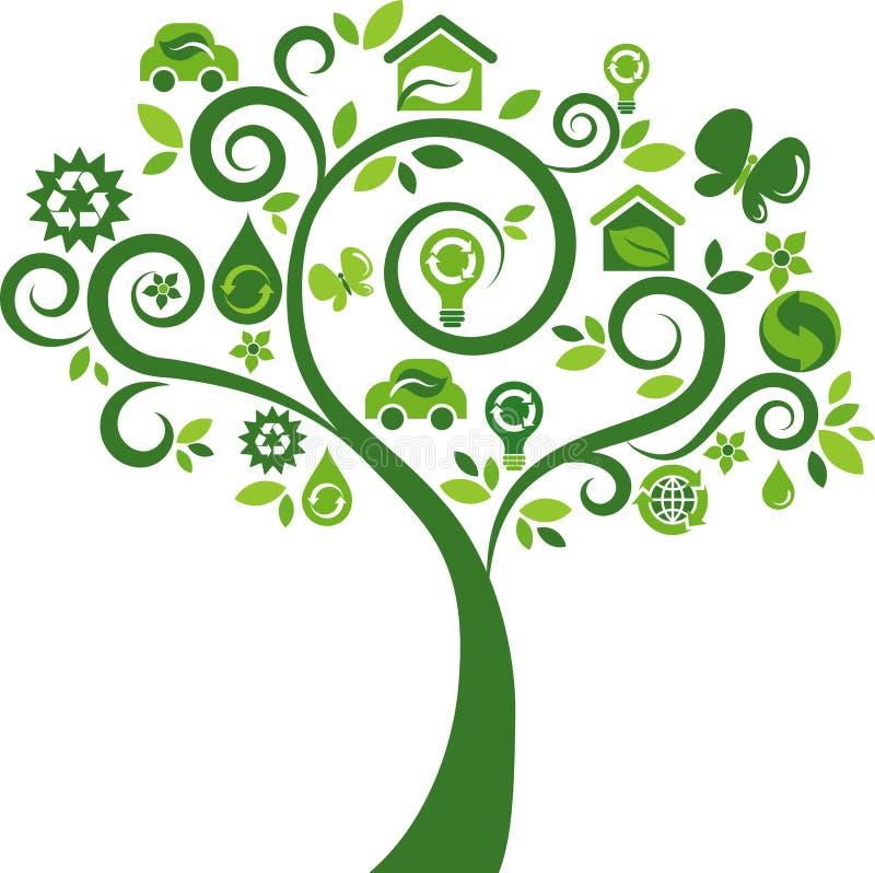 Πράσινο δέντρο με πολλά εικονίδια οικολογίας ελεύθερη απεικόνιση δικαιώματος