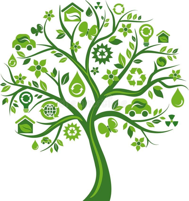 Πράσινο δέντρο με πολλά περιβαλλοντικά εικονίδια ελεύθερη απεικόνιση δικαιώματος