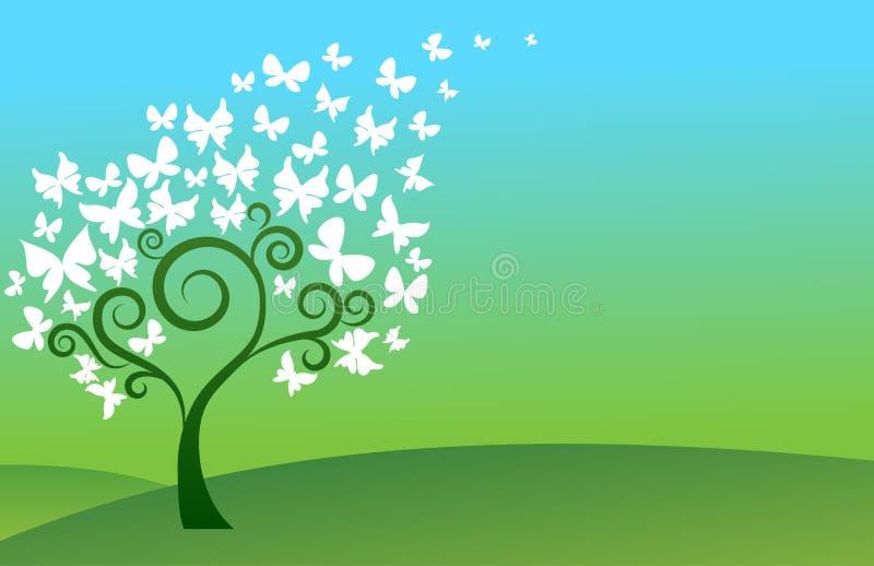 Πράσινο δέντρο πεταλούδων απεικόνιση αποθεμάτων