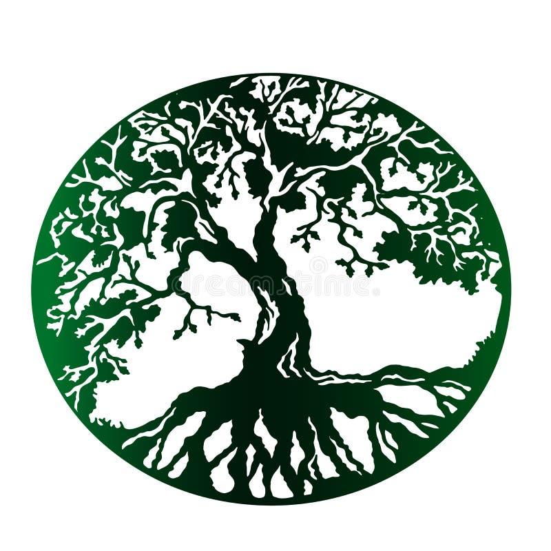 Πράσινο δέντρο της ζωής, απομονωμένο διάνυσμα διανυσματική απεικόνιση