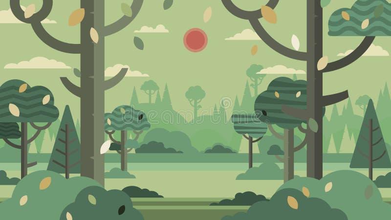 Πράσινο δασικό αφηρημένο backgro σκιαγραφιών και τοπίων βουνών διανυσματική απεικόνιση