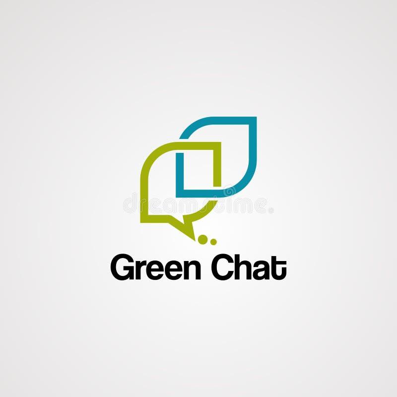 Πράσινο διάνυσμα, εικονίδιο, πρότυπο, και στοιχείο λογότυπων συνομιλίας απεικόνιση αποθεμάτων