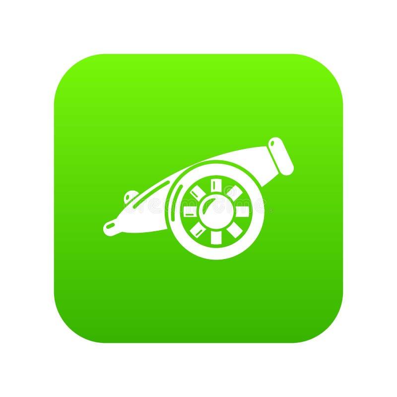 Πράσινο διάνυσμα εικονιδίων πυροβόλων πυροβολικού απεικόνιση αποθεμάτων