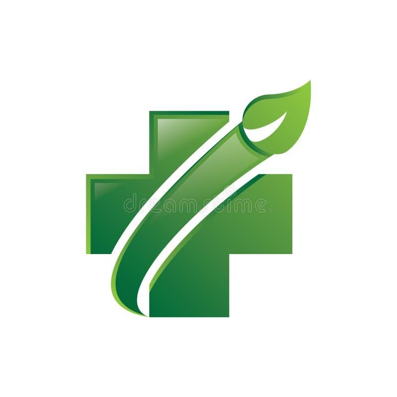 Πράσινο διάνυσμα λογότυπων βελών φύλλων Healht διανυσματική απεικόνιση