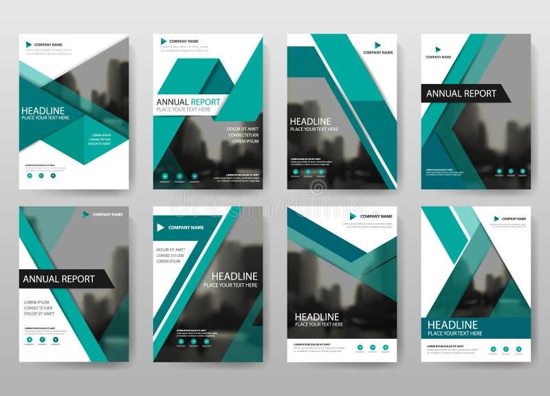 Πράσινο διάνυσμα προτύπων σχεδίου ιπτάμενων φυλλάδιων ετήσια εκθέσεων δεσμών, αφηρημένο επίπεδο υπόβαθρο παρουσίασης κάλυψης φυλλ διανυσματική απεικόνιση