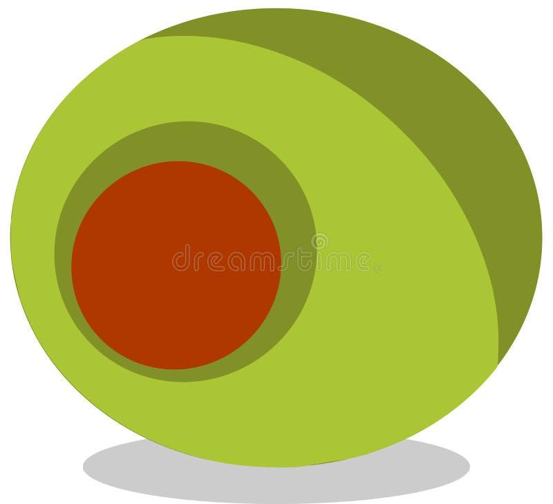 Πράσινο διάνυσμα τροφίμων πρόχειρων φαγητών ελιών στοκ εικόνες