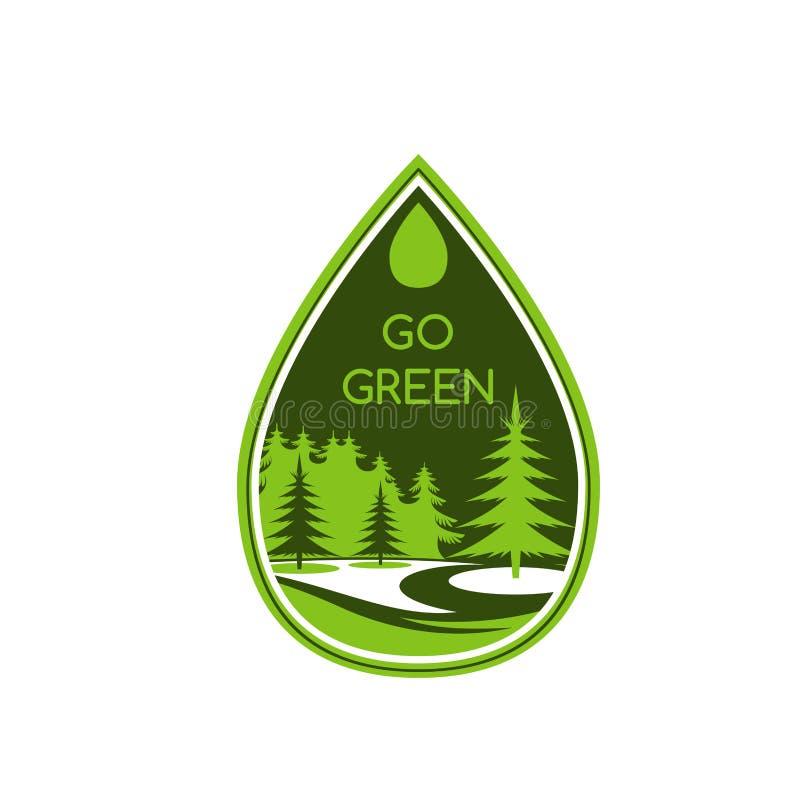 Πράσινο διανυσματικό εικονίδιο περιβάλλοντος οικολογίας δέντρων eco ελεύθερη απεικόνιση δικαιώματος