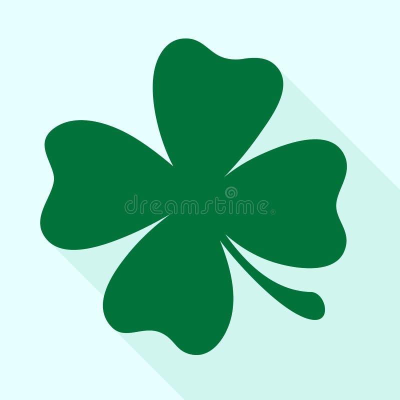 Πράσινο διανυσματικό εικονίδιο τριφυλλιού τριφυλλιών Σύμβολο ημέρας του ST Πάτρικ, leprechaun σημάδι φύλλων ελεύθερη απεικόνιση δικαιώματος