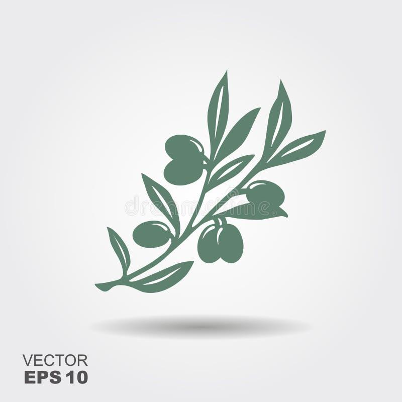 Πράσινο διανυσματικό λογότυπο κλαδί ελιάς ελεύθερη απεικόνιση δικαιώματος