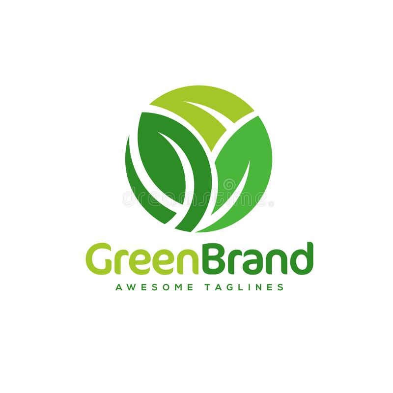 Πράσινο διανυσματικό λογότυπο υγείας κύκλων φύλλων διανυσματική απεικόνιση