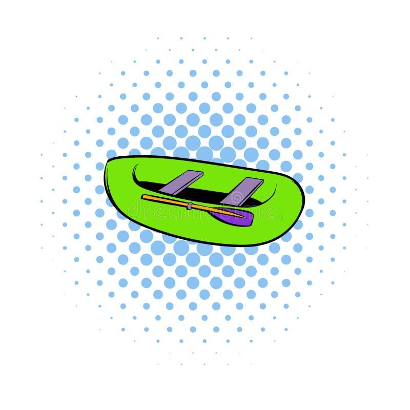 Πράσινο διογκώσιμο εικονίδιο βαρκών, ύφος comics διανυσματική απεικόνιση
