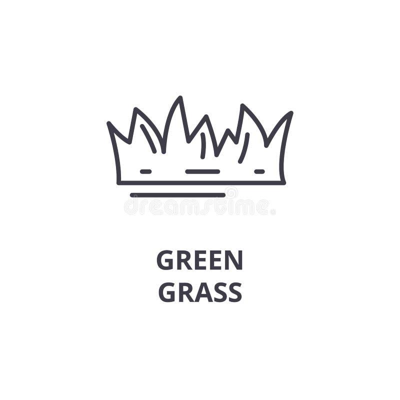 Πράσινο εικονίδιο γραμμών χλόης, σημάδι περιλήψεων, γραμμικό σύμβολο, διανυσματική, επίπεδη απεικόνιση διανυσματική απεικόνιση