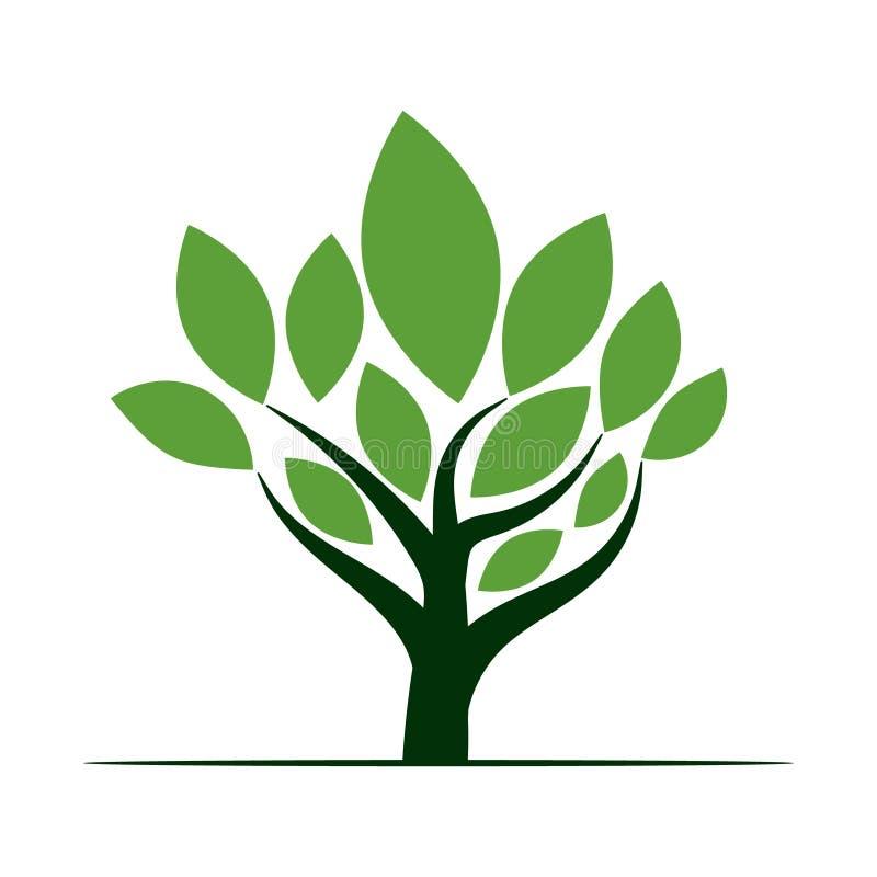Πράσινο εικονίδιο λογότυπων δέντρων στοκ φωτογραφία