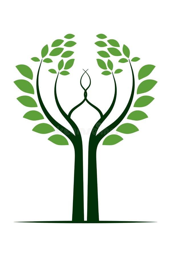 Πράσινο εικονίδιο λογότυπων δέντρων στοκ εικόνα με δικαίωμα ελεύθερης χρήσης