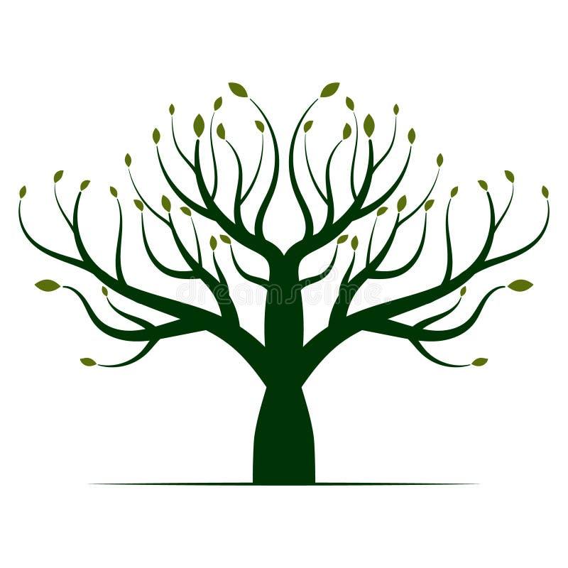 Πράσινο εικονίδιο λογότυπων δέντρων στοκ εικόνα