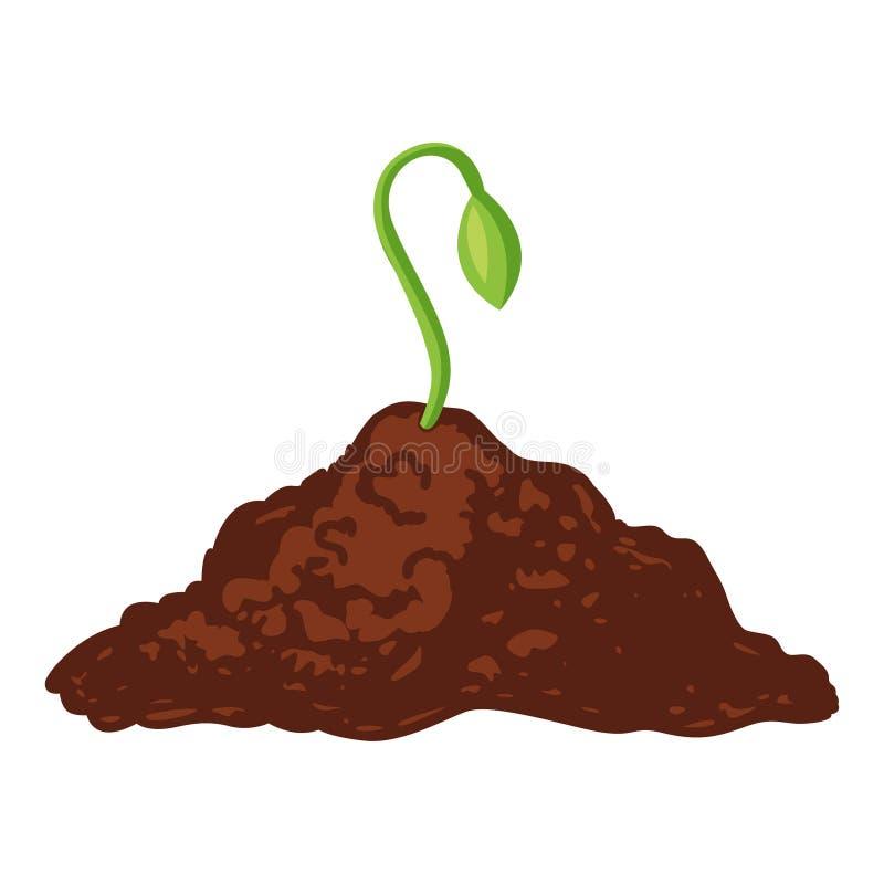 Πράσινο εικονίδιο νεαρών βλαστών, που αυξάνεται από το μαύρο χώμα απεικόνιση αποθεμάτων