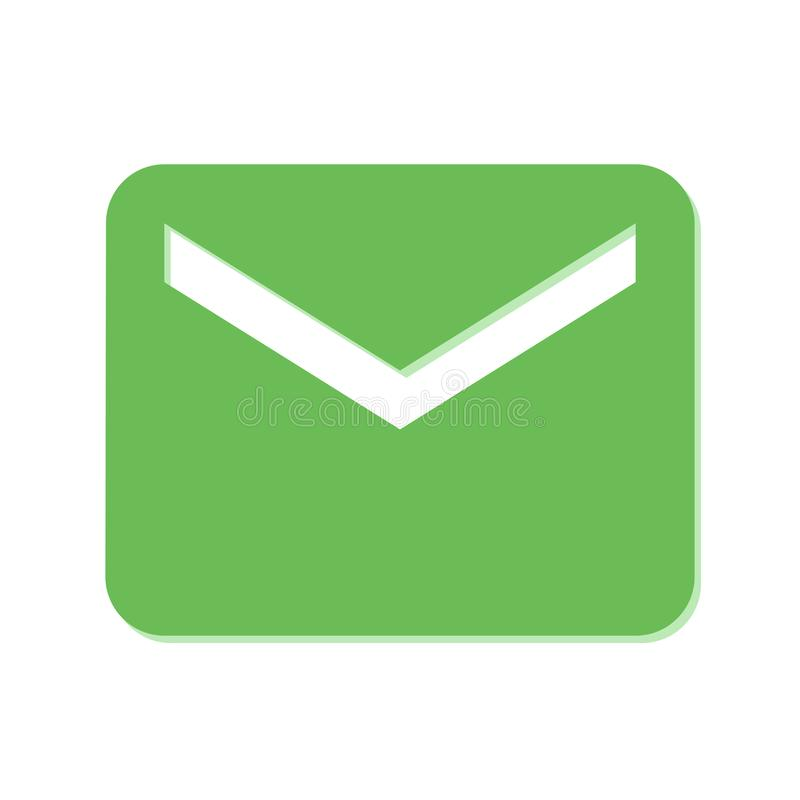 Πράσινο εικονίδιο ταχυδρομείου στο άσπρο Blackground απεικόνιση αποθεμάτων