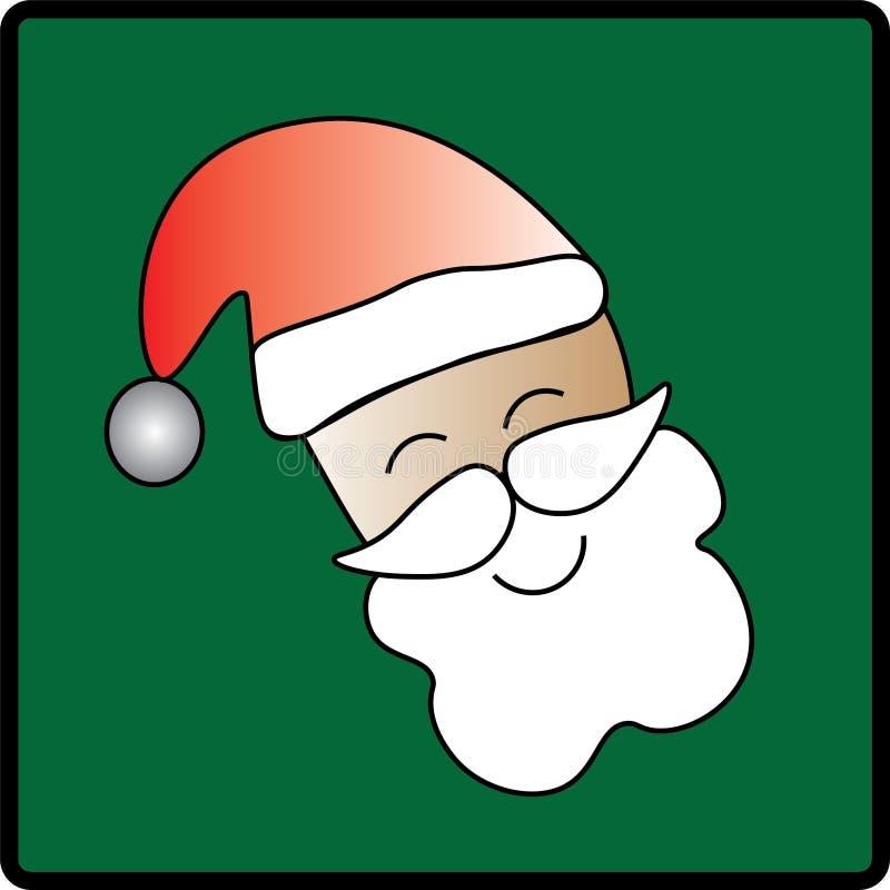 Πράσινο εικονίδιο Backgrounded Santa διανυσματική απεικόνιση
