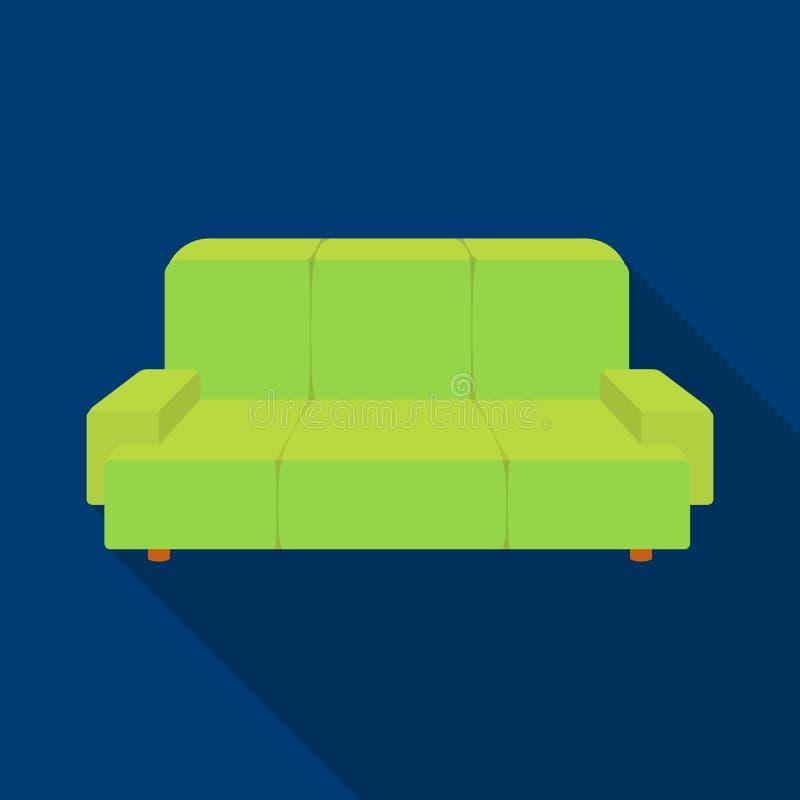 Πράσινο εικονίδιο καναπέδων στο επίπεδο ύφος που απομονώνεται στο άσπρο υπόβαθρο Επίπλωση γραφείων και εσωτερικό διάνυσμα αποθεμά διανυσματική απεικόνιση