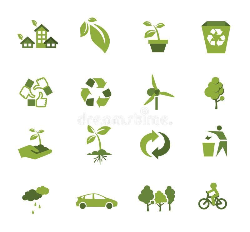 Πράσινο εικονίδιο οικολογίας διανυσματική απεικόνιση