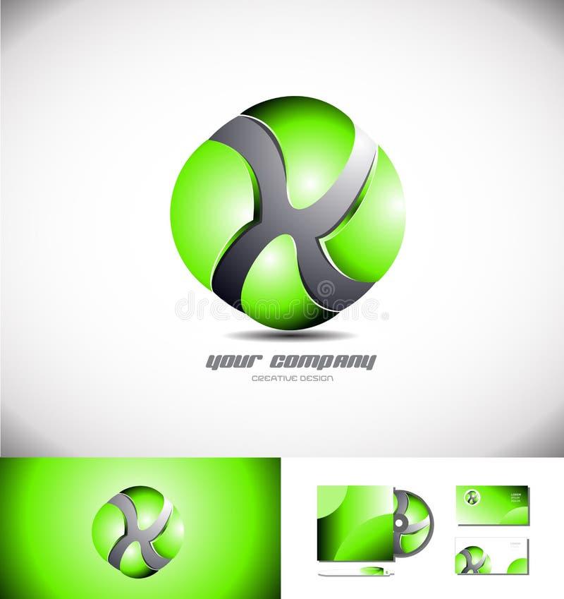 Πράσινο εικονίδιο σχεδίου λογότυπων σφαιρών τρισδιάστατο διανυσματική απεικόνιση