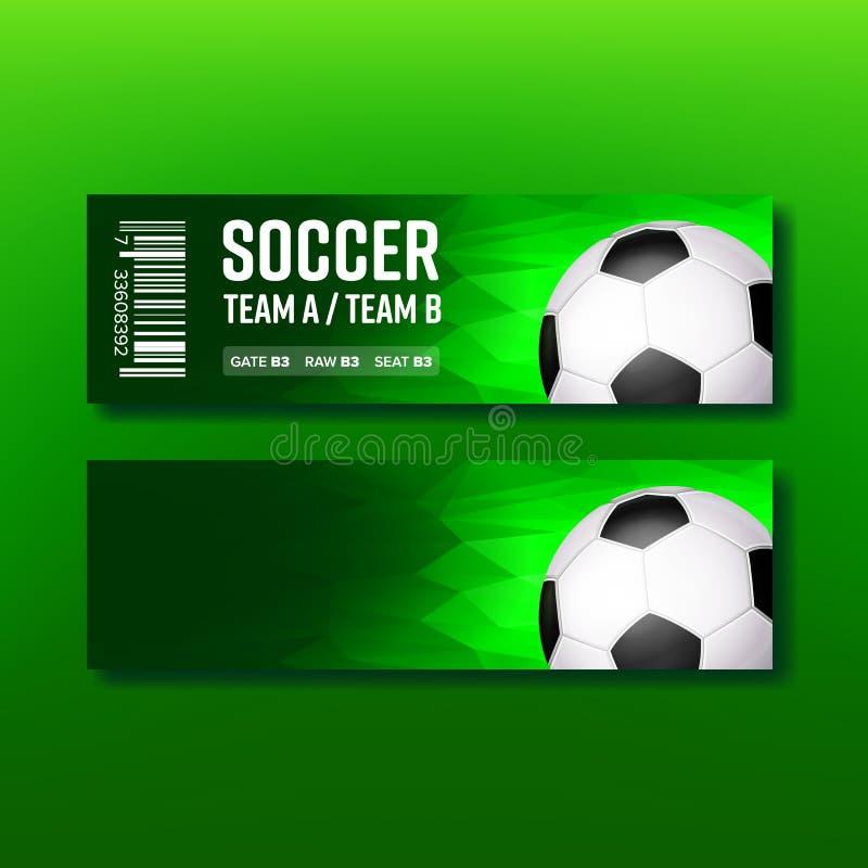 Πράσινο εισιτήριο για το διάνυσμα αντιστοιχιών εποχής ποδοσφαίρου επίσκεψης απεικόνιση αποθεμάτων