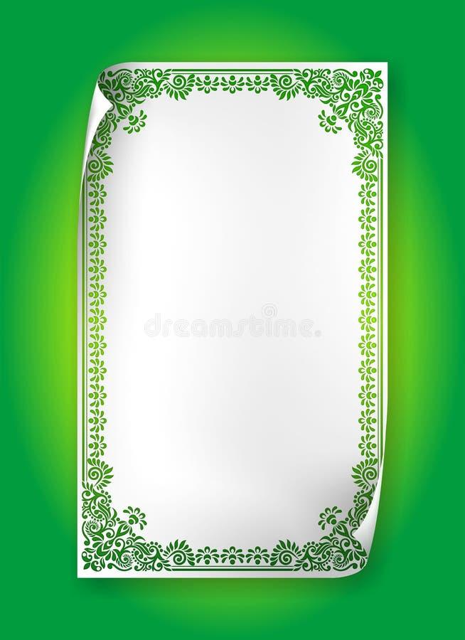 Πράσινο εκλεκτής ποιότητας πλαίσιο με τους στροβίλους και Paisley σε χαρτί μπουκλών διανυσματική απεικόνιση