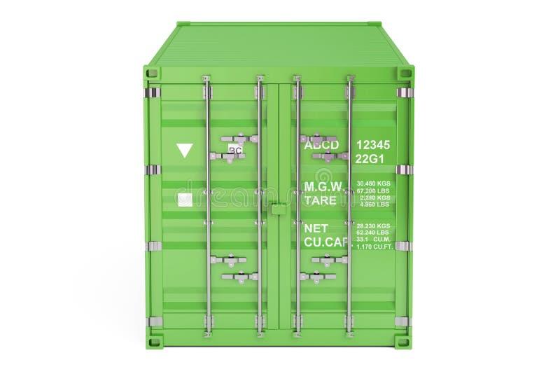 Πράσινο εμπορευματοκιβώτιο φορτίου, μπροστινή άποψη τρισδιάστατη απόδοση απεικόνιση αποθεμάτων