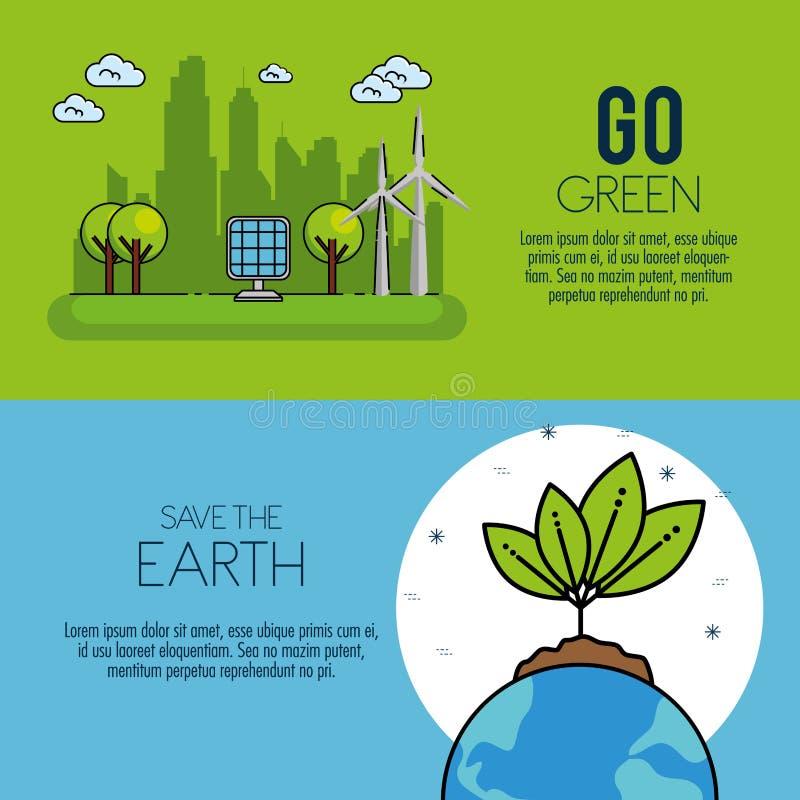 Πράσινο ενεργειακό infographic σχέδιο Eco απεικόνιση αποθεμάτων