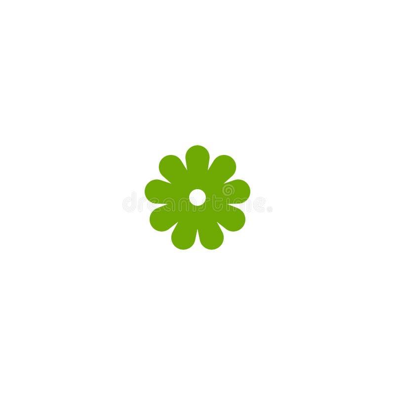 Πράσινο επίπεδο εικονίδιο camomile του λουλουδιού Απομονωμένος στο λευκό επίσης corel σύρετε το διάνυσμα απεικόνισης διανυσματική απεικόνιση