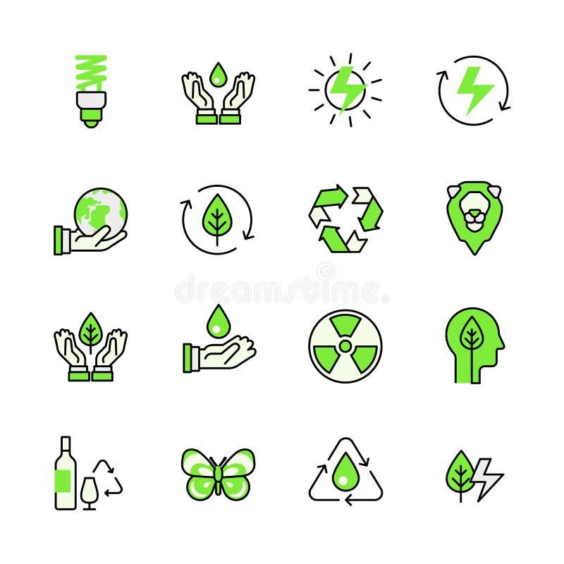 Πράσινο επίπεδο ενεργειακής ανακύκλωσης φύσης πλανητών lineart διανυσματική απεικόνιση