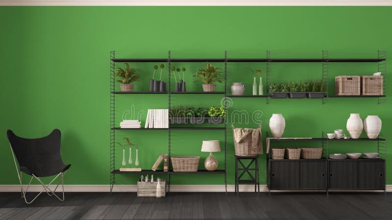 Πράσινο εσωτερικό σχέδιο Eco με το ξύλινο ράφι, diy κάθετο GA στοκ φωτογραφία