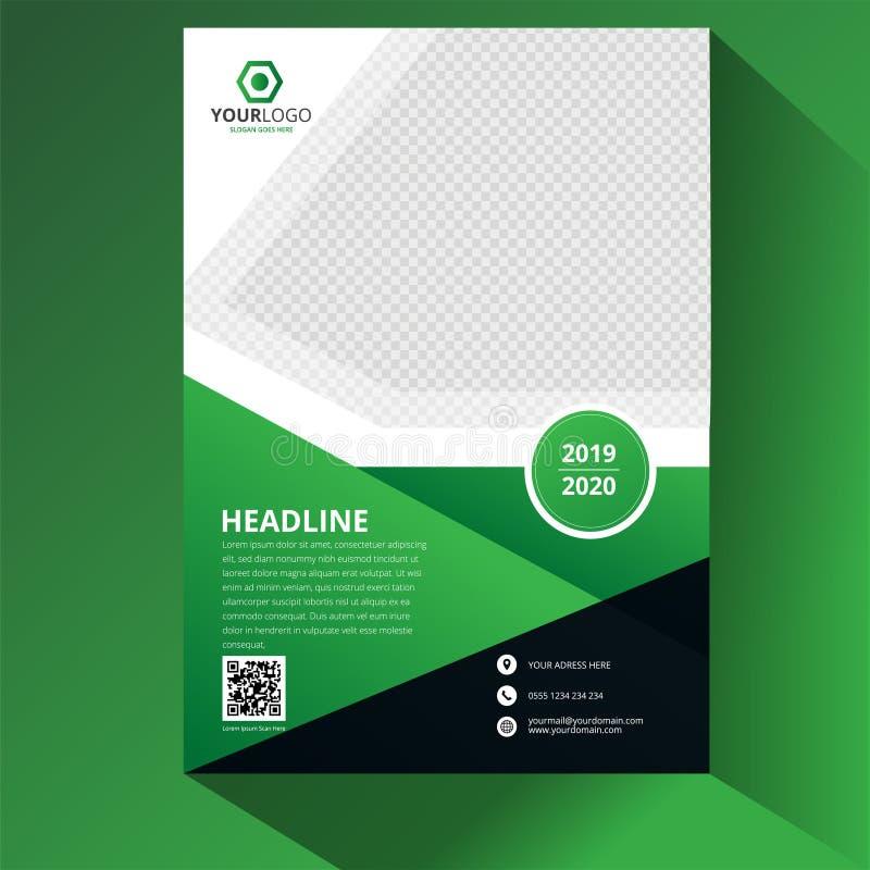 Πράσινο εταιρικό σχέδιο ιπτάμενων φυλλάδιων επιχειρησιακών ετήσια εκθέσεων Παρουσίαση κάλυψης φυλλάδιων Κατάλογος με αφηρημένο γε διανυσματική απεικόνιση