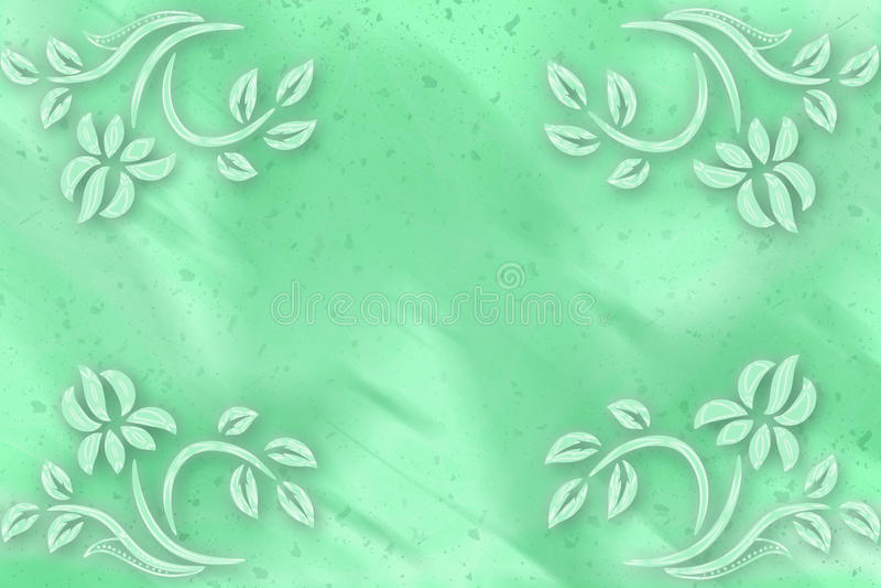 Πράσινο θολωμένο υπόβαθρο με τα λουλούδια στις γωνίες στοκ φωτογραφία