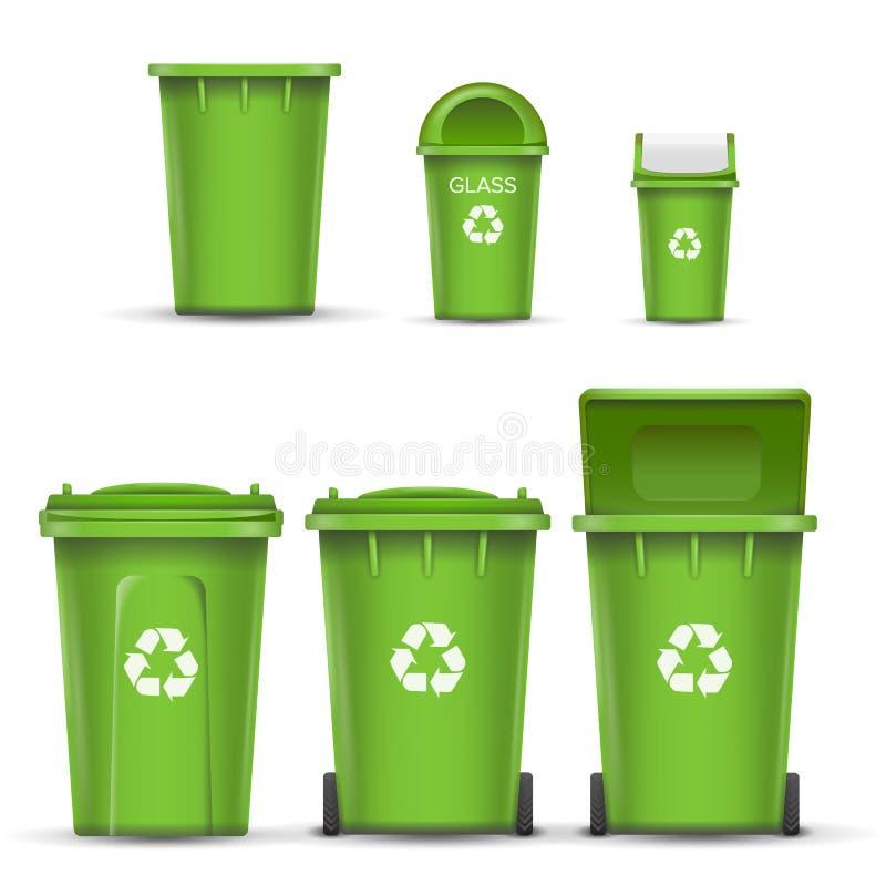 Πράσινο διάνυσμα κάδων δοχείων ανακύκλωσης για τα απορρίμματα γυαλιού Ανοιγμένος και κλειστός Μπροστινή όψη Βέλος σημαδιών απομον απεικόνιση αποθεμάτων