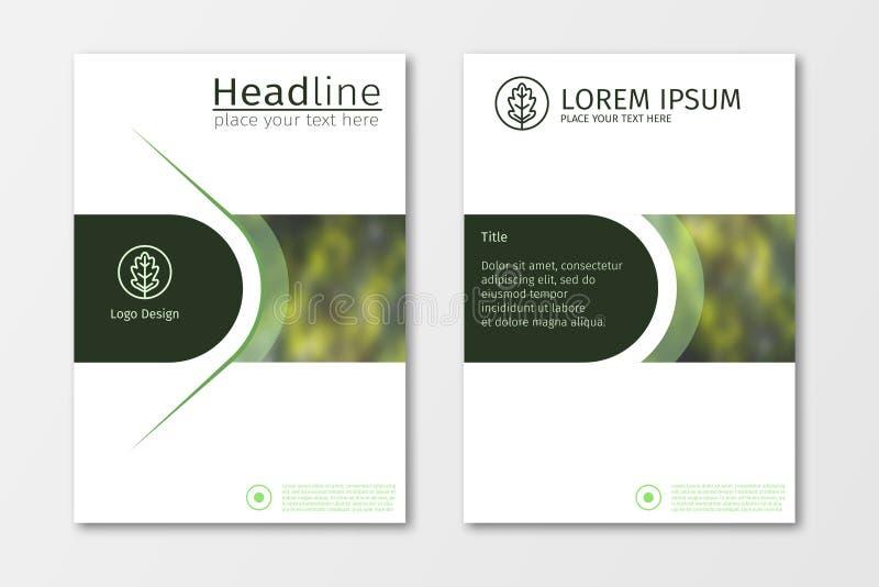 Πράσινο διάνυσμα προτύπων σχεδίου ιπτάμενων επιχειρησιακών φυλλάδιων ετήσια εκθέσεων ελεύθερη απεικόνιση δικαιώματος