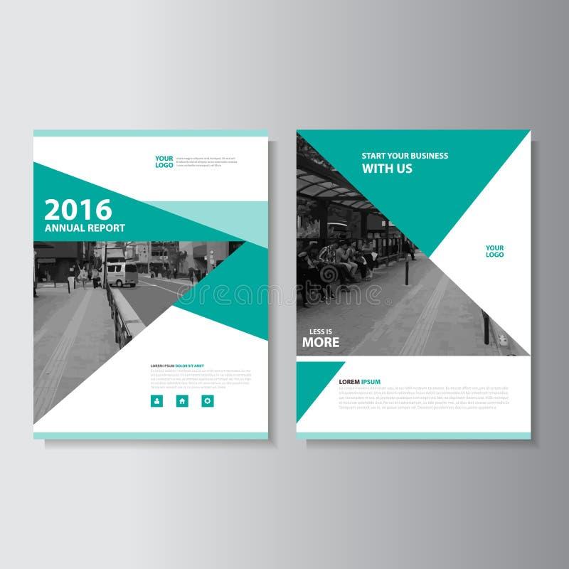 Πράσινο διανυσματικό σχέδιο προτύπων ιπτάμενων φυλλάδιων φυλλάδιων ετήσια εκθέσεων περιοδικών, σχέδιο σχεδιαγράμματος κάλυψης βιβ απεικόνιση αποθεμάτων