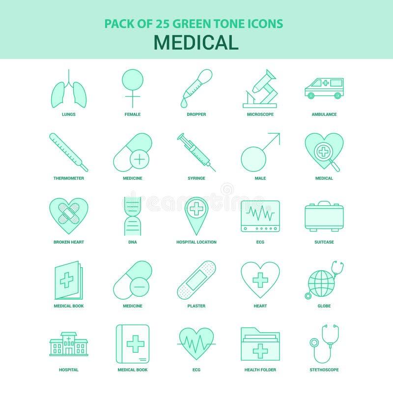 25 πράσινο ιατρικό σύνολο εικονιδίων ελεύθερη απεικόνιση δικαιώματος