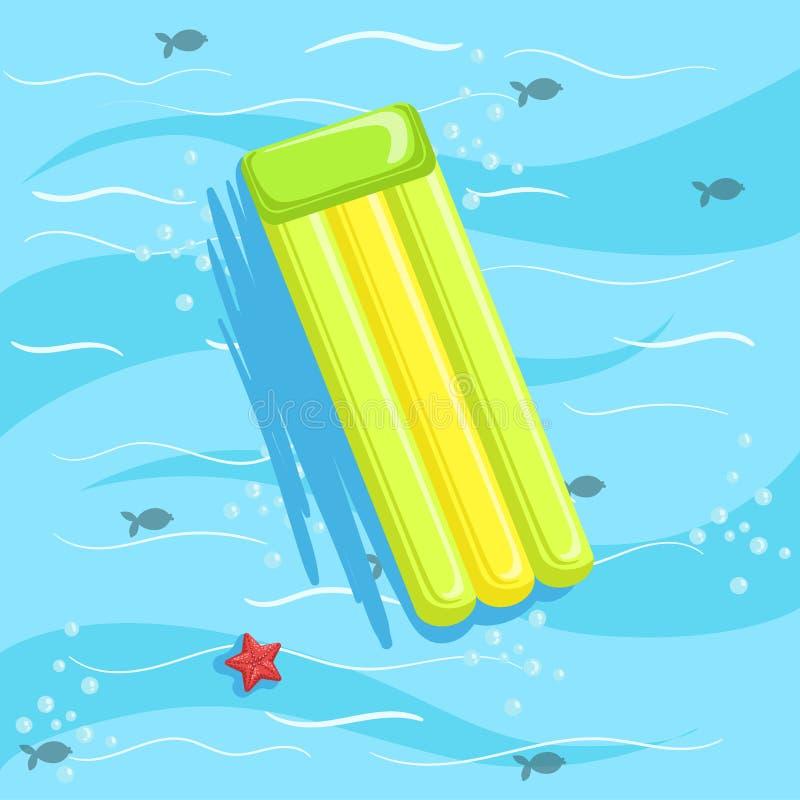 Πράσινο διογκώσιμο Matrass με το μπλε θαλάσσιο νερό στο υπόβαθρο διανυσματική απεικόνιση