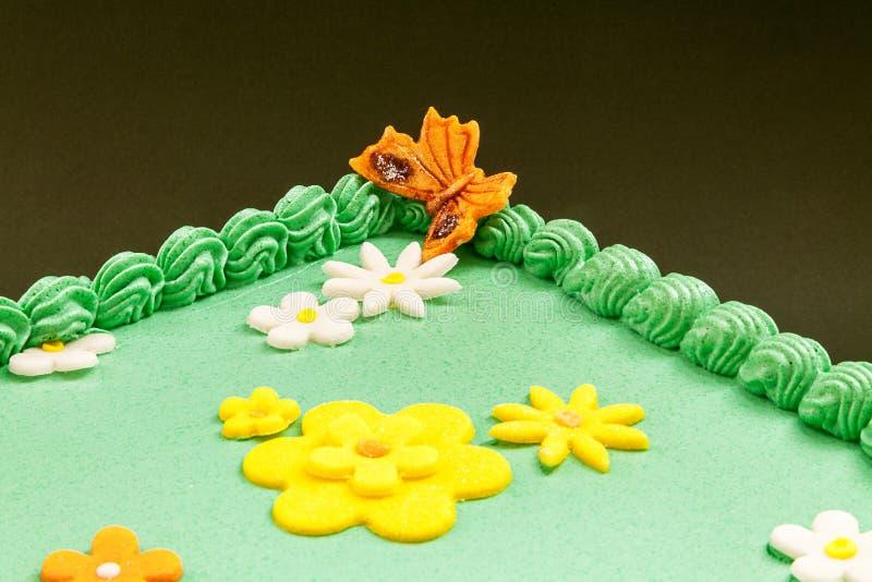 Πράσινο κέικ τομέων στοκ φωτογραφίες