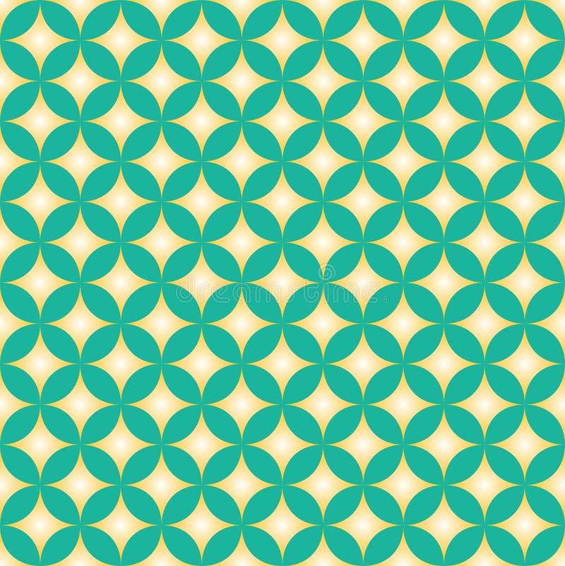 Πράσινο & κίτρινο σχέδιο κύκλων αστεριών διαμαντιών ελεύθερη απεικόνιση δικαιώματος