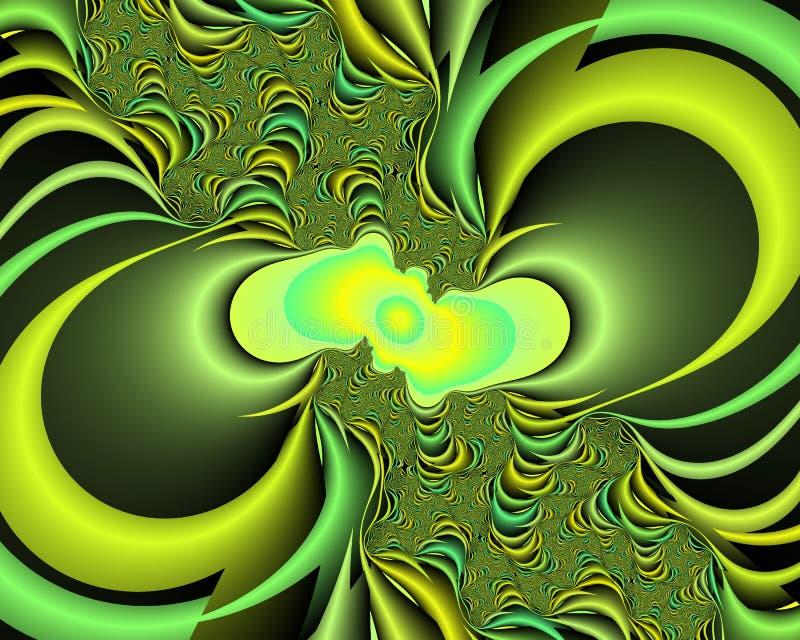 Πράσινο κίτρινο φωτεινό fractal αφηρημένο υπόβαθρο, flowery σύσταση απεικόνιση αποθεμάτων