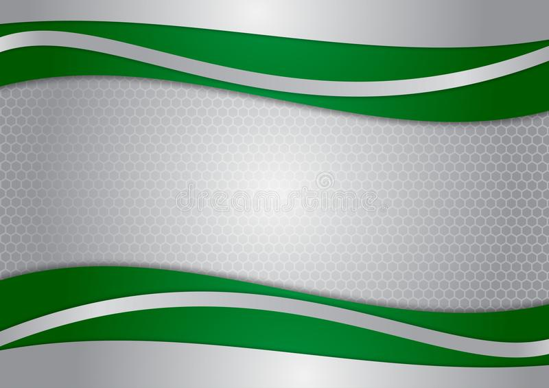 Πράσινο και ασημένιο αφηρημένο διανυσματικό υπόβαθρο κυμάτων απεικόνιση αποθεμάτων