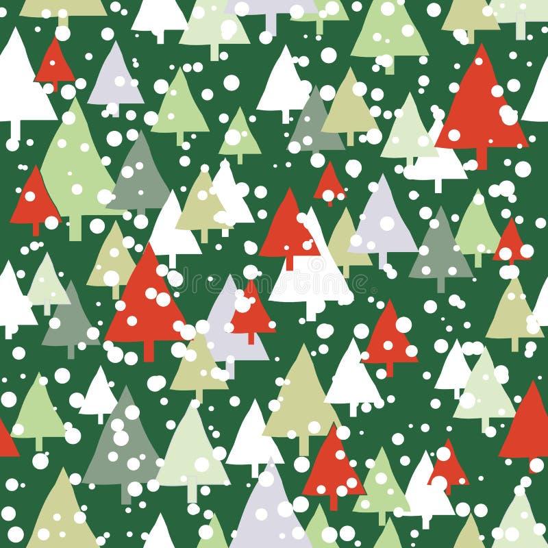 Πράσινο και κόκκινο άνευ ραφής σχέδιο Χριστουγέννων δέντρων χιονιού απεικόνιση αποθεμάτων