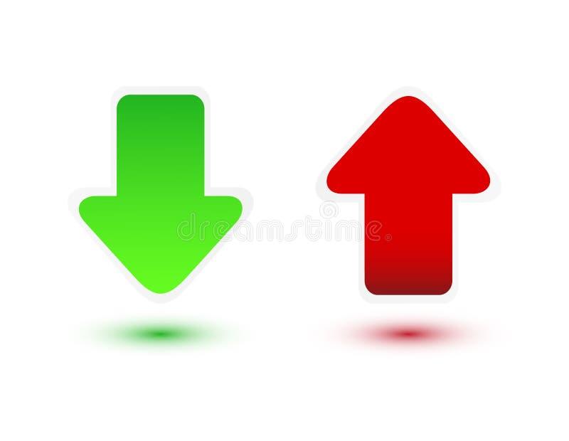 Πράσινο και κόκκινο βέλος ελεύθερη απεικόνιση δικαιώματος